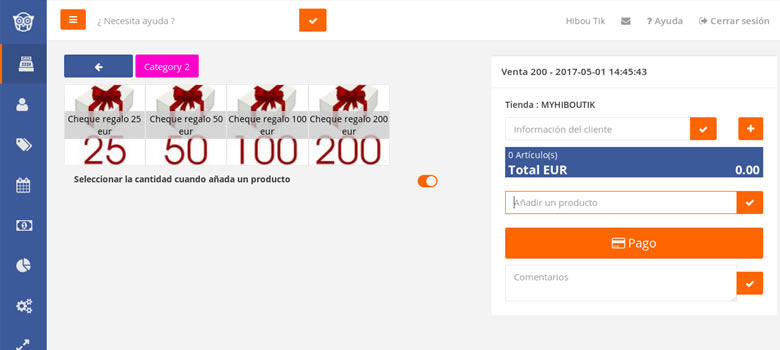 gestion cheques regalo